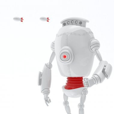 Robot with Rocket launcher Isolated on White background