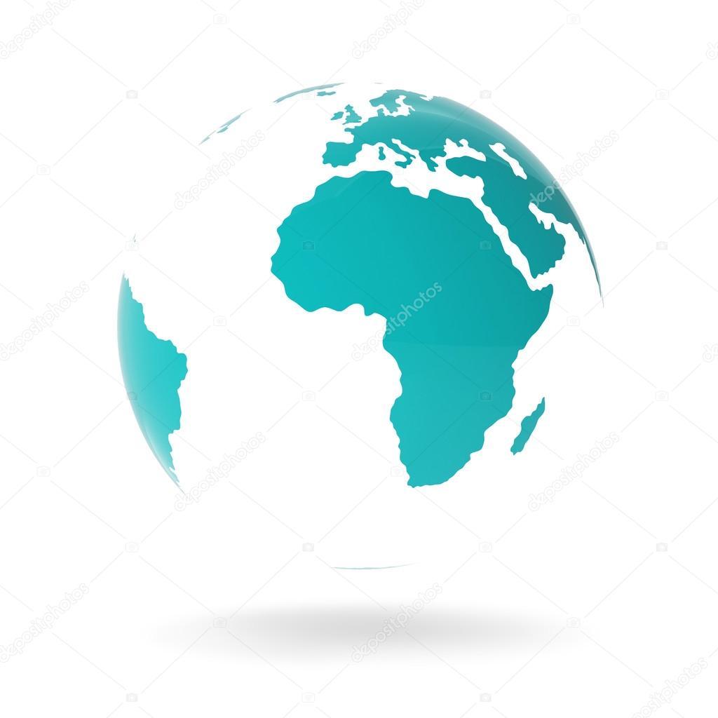Modern Green Globe Isolated on White Background