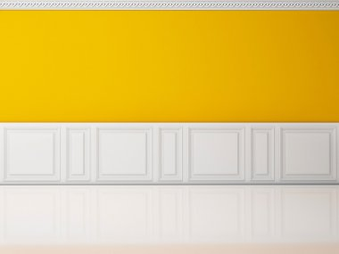 Yellow wall in a classic style and reflection white floor