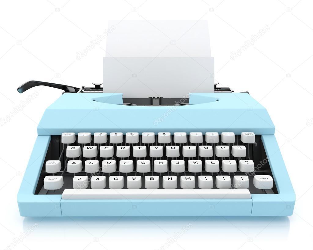 Typing Machine on White Background, Render