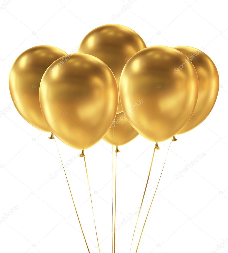 Golden Balloons isolated on White Background