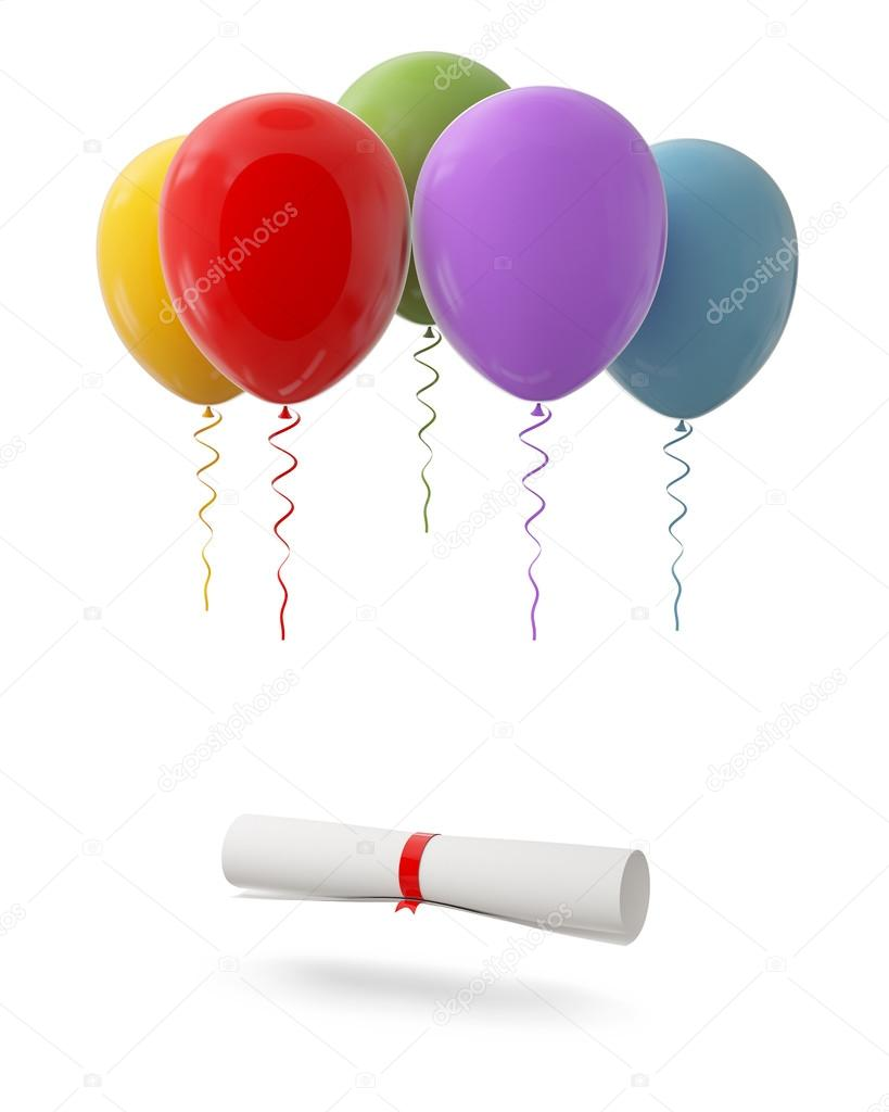 Diploma tied with red ribbon hanging on Red Balloons, Isolated on White Background