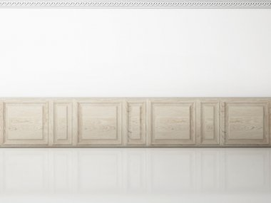 White wall in a classic style wooden panel and reflection floor