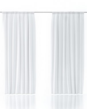 White Curtain Isolated On White