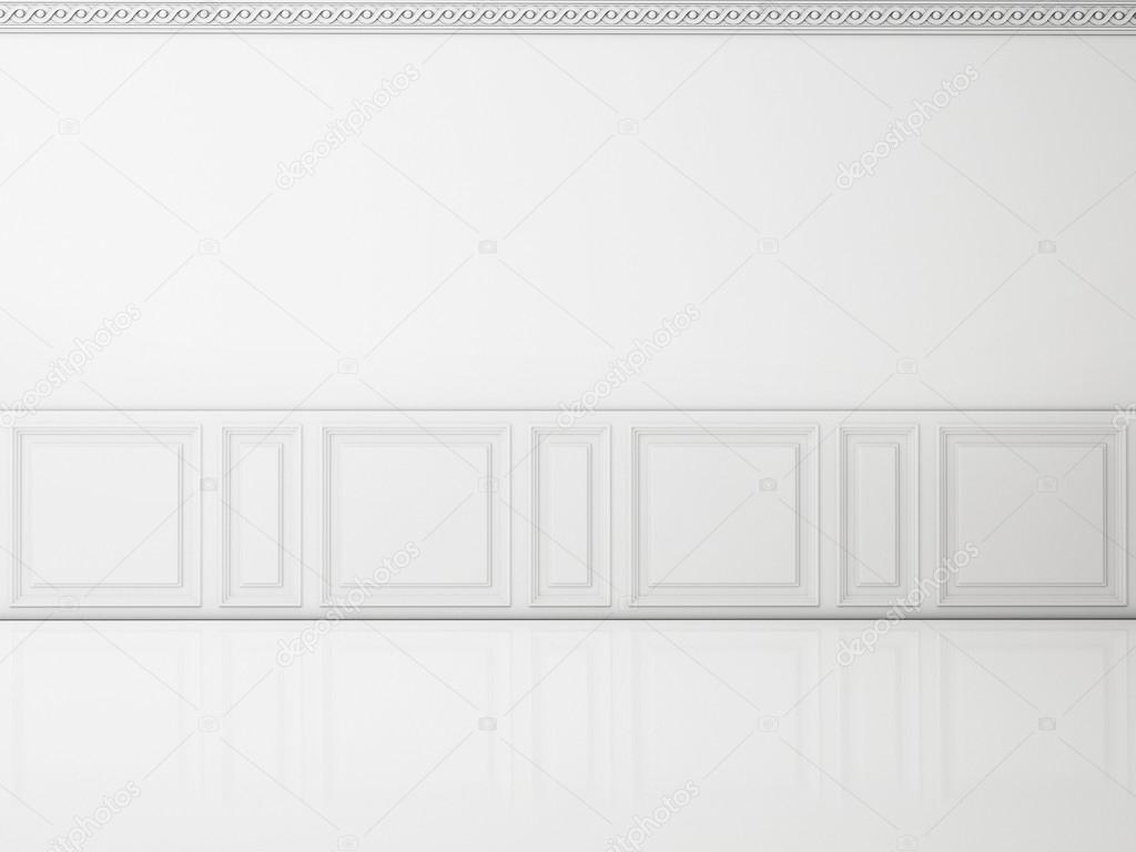 White wall in a classic style and reflection white floor