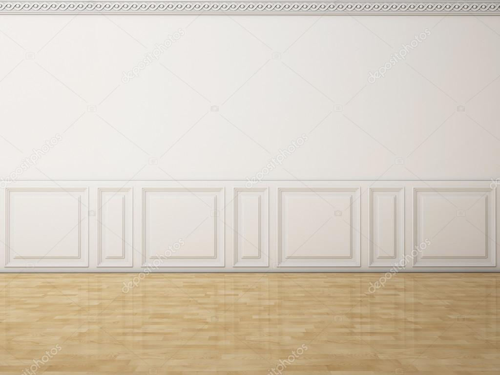 White wall in a classic style and reflection wooden floor