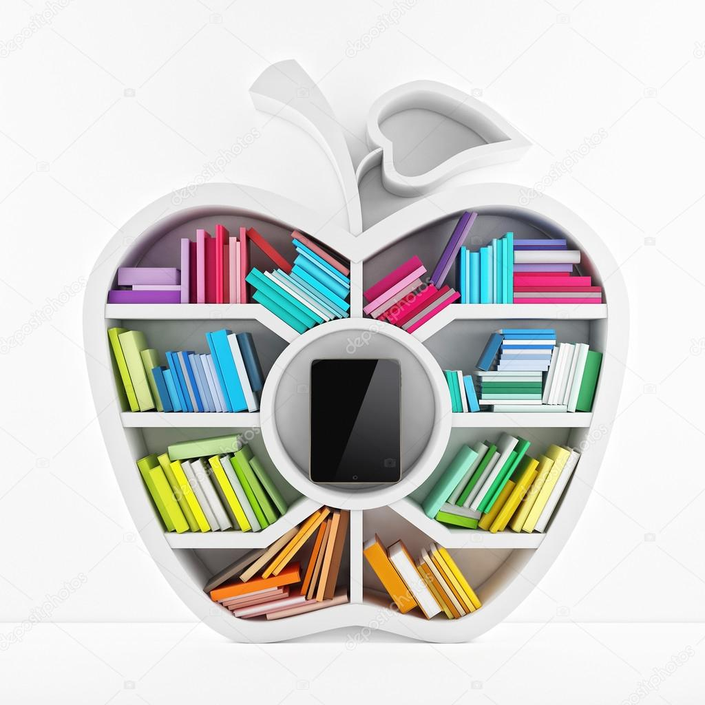 Apple of Knowledge, White Shelf with Multicolor Books Isolated on White Background Tablet inside Shelf