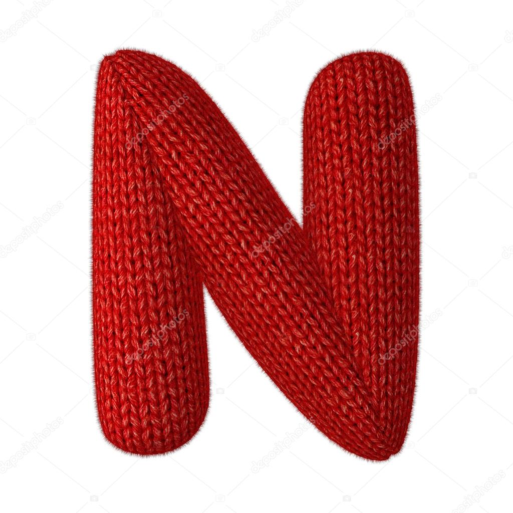 Letter N Made of Wool Knit isolated on White Background