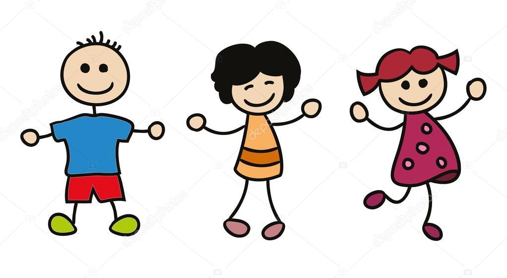 simples niños jugando — Archivo Imágenes Vectoriales © igordudas ...
