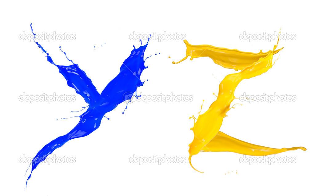 alfabeto líquido coloreado — Fotos de Stock © habovka #36405485