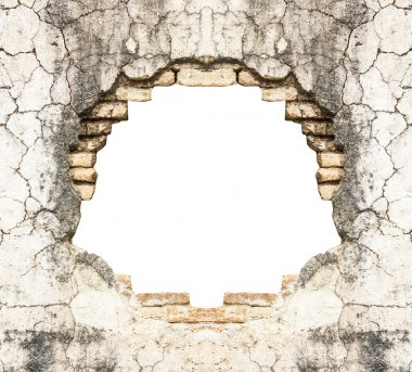 Hole in old brick wall and concrete vintage background