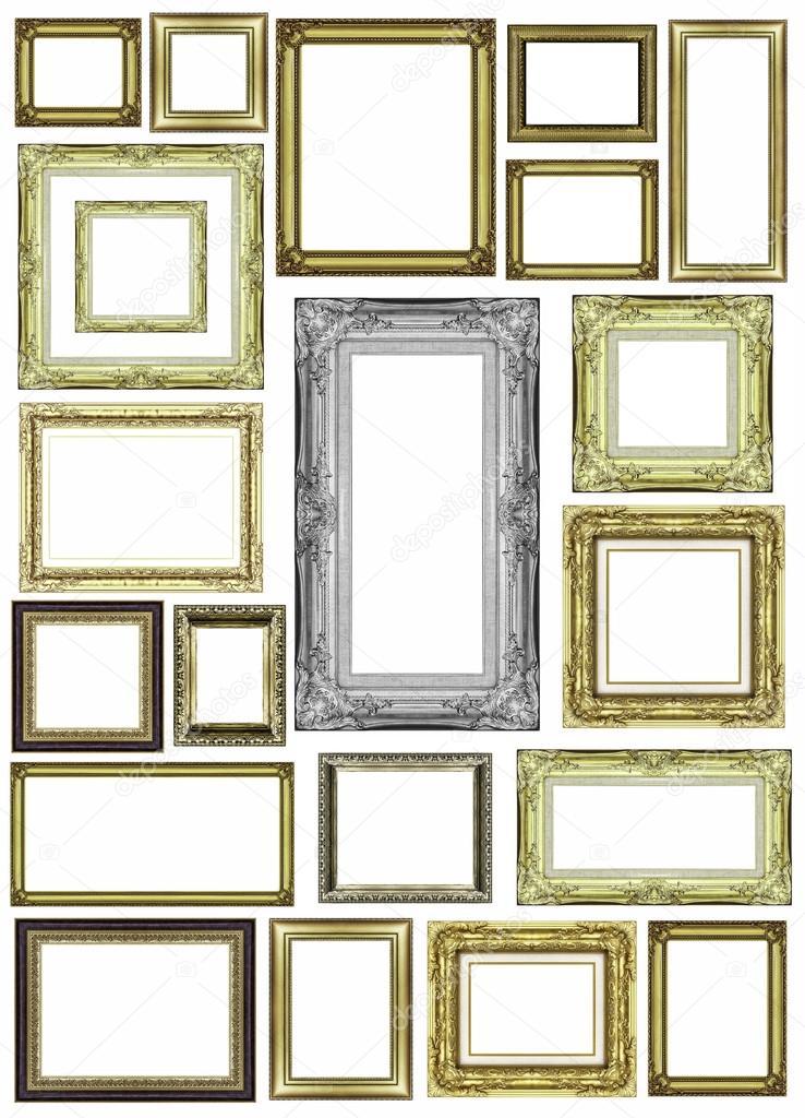 conjunto de marco dorado vintage con espacio en blanco — Fotos de ...