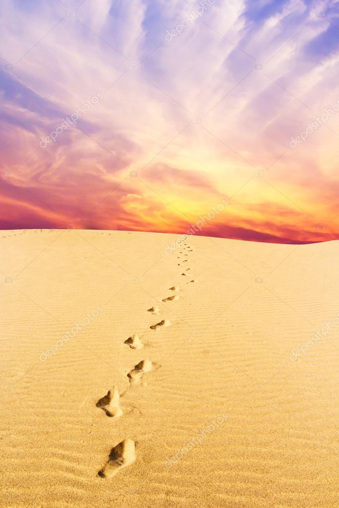 Footprints on desert and Purple and pink clouds in the blue sky.