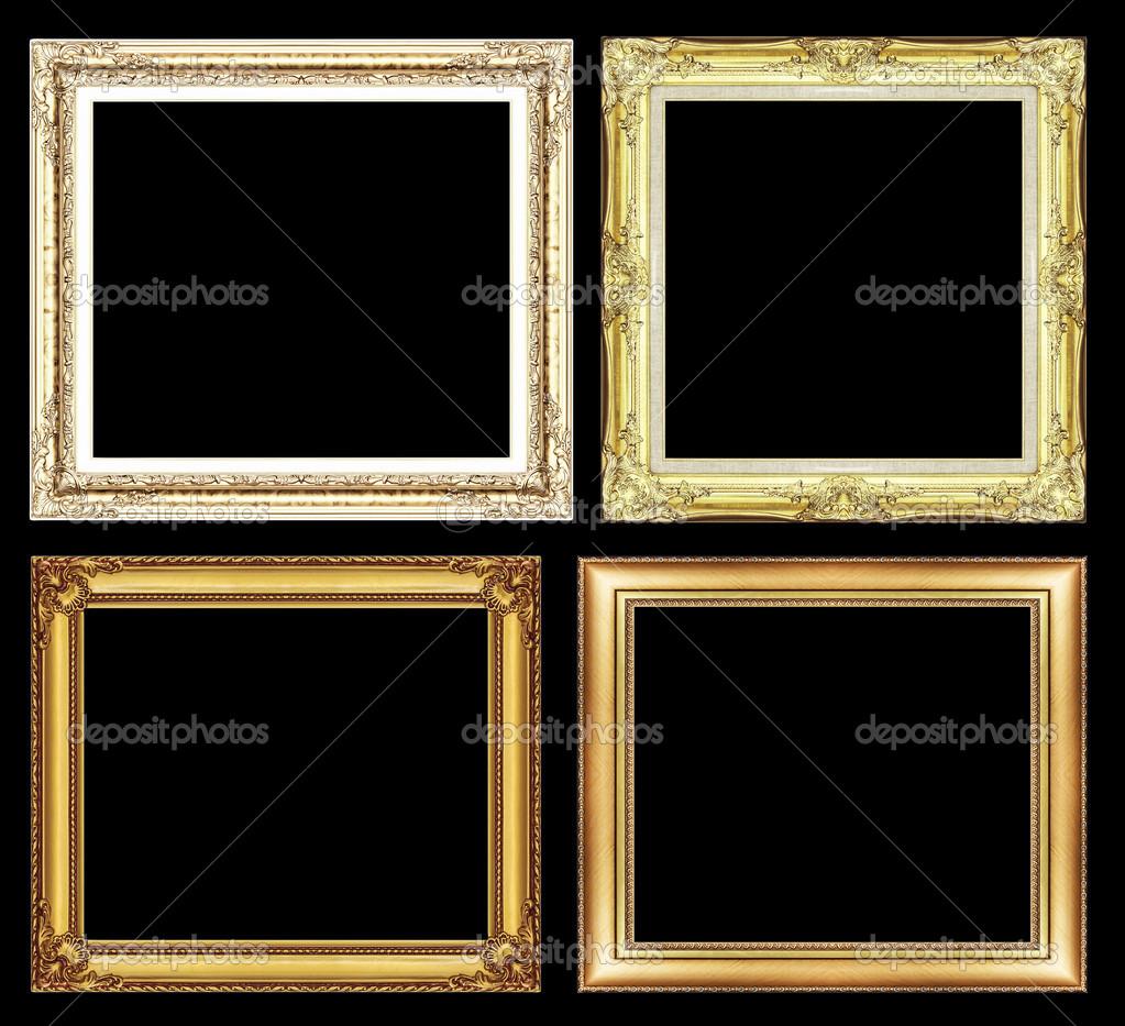 conjunto de marco dorado vintage con espacio en blanco y trazado de ...