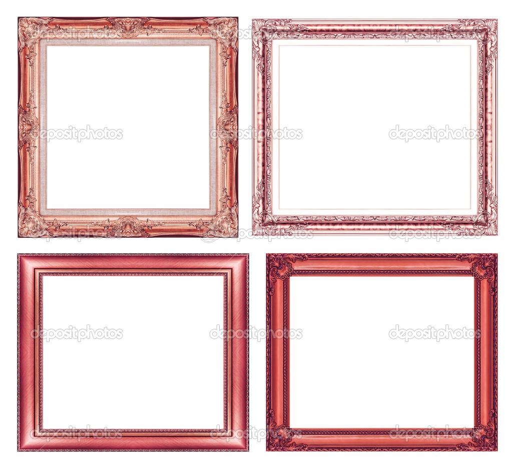 conjunto de marco rojo vintage con espacio en blanco y trazado de ...