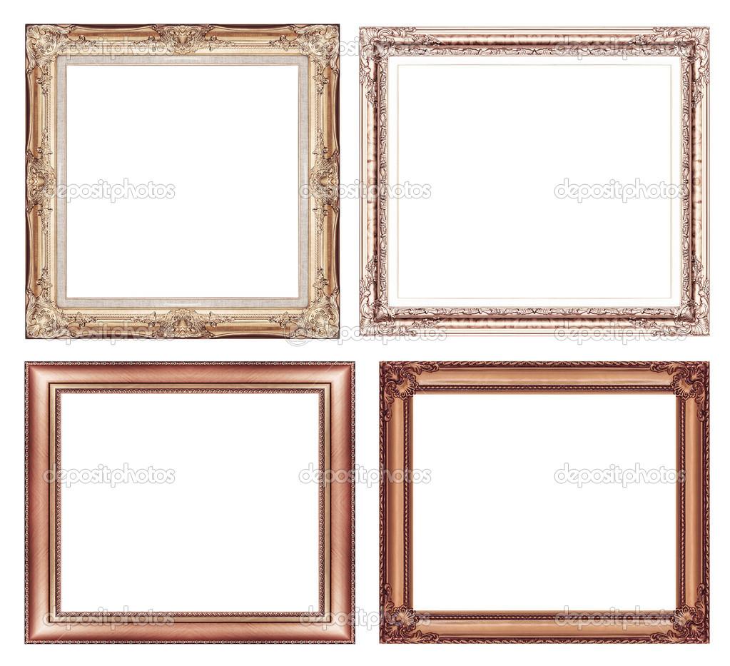 conjunto de marco marrón vintage con espacio en blanco y trazado de ...