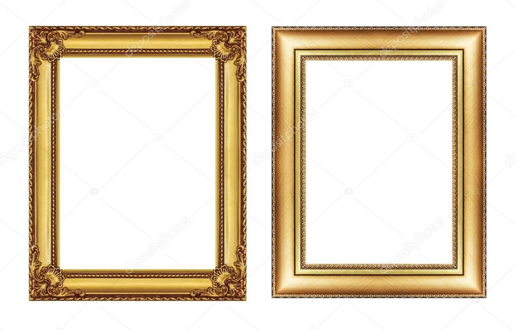 conjunto de marco dorado vintage con espacio en blanco aislado en ...
