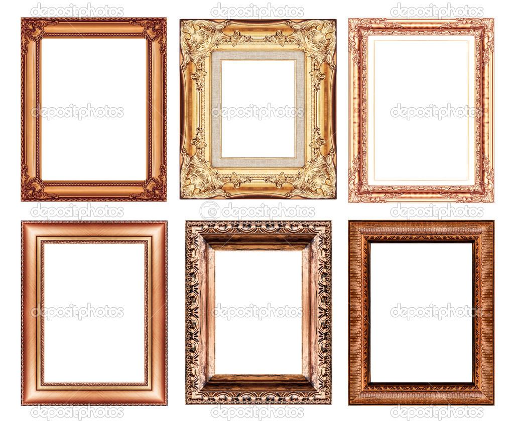 Satz von Vintage braun Rahmen mit Leerzeichen — Stockfoto ...