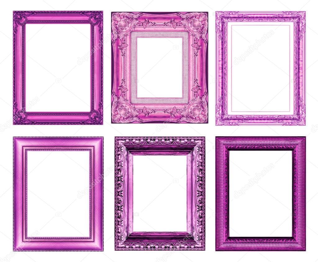 conjunto de marco vintage morado con espacio en blanco — Fotos de ...