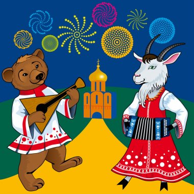 Russian style bear and goat