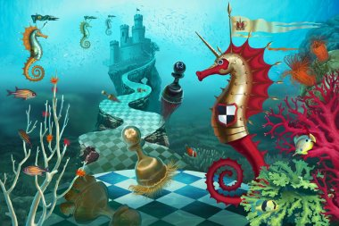 chess knight in the underwater world
