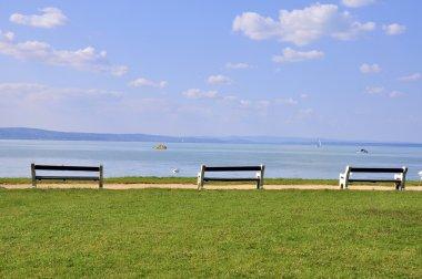 Benches at the Balaton lake