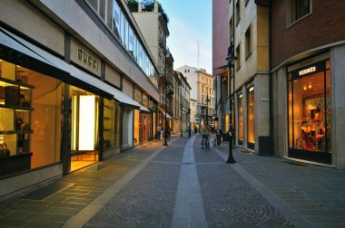 Luxury shopping street in Padova, Italy