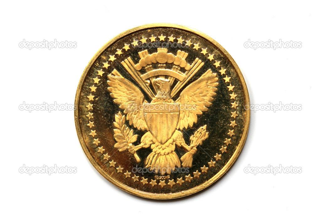 Rückseite Der Gold Münze Von Präsident Kennedy Stockfoto