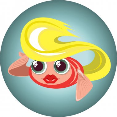 Cute cartoon blonde little fish in a circle