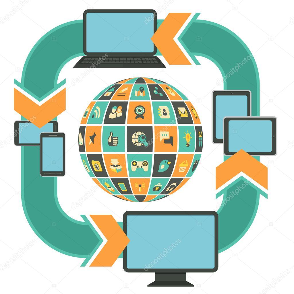 plantilla de diseño web sensible turquesa — Vector de stock ...