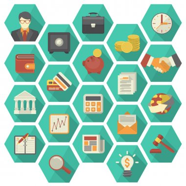Modern Flat Financial and Business Icons in Hexagons