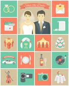 Fotografie Hochzeit-Icons in Quadrate