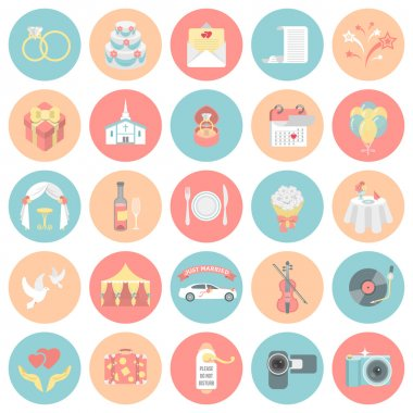 Wedding Organization Round Icons