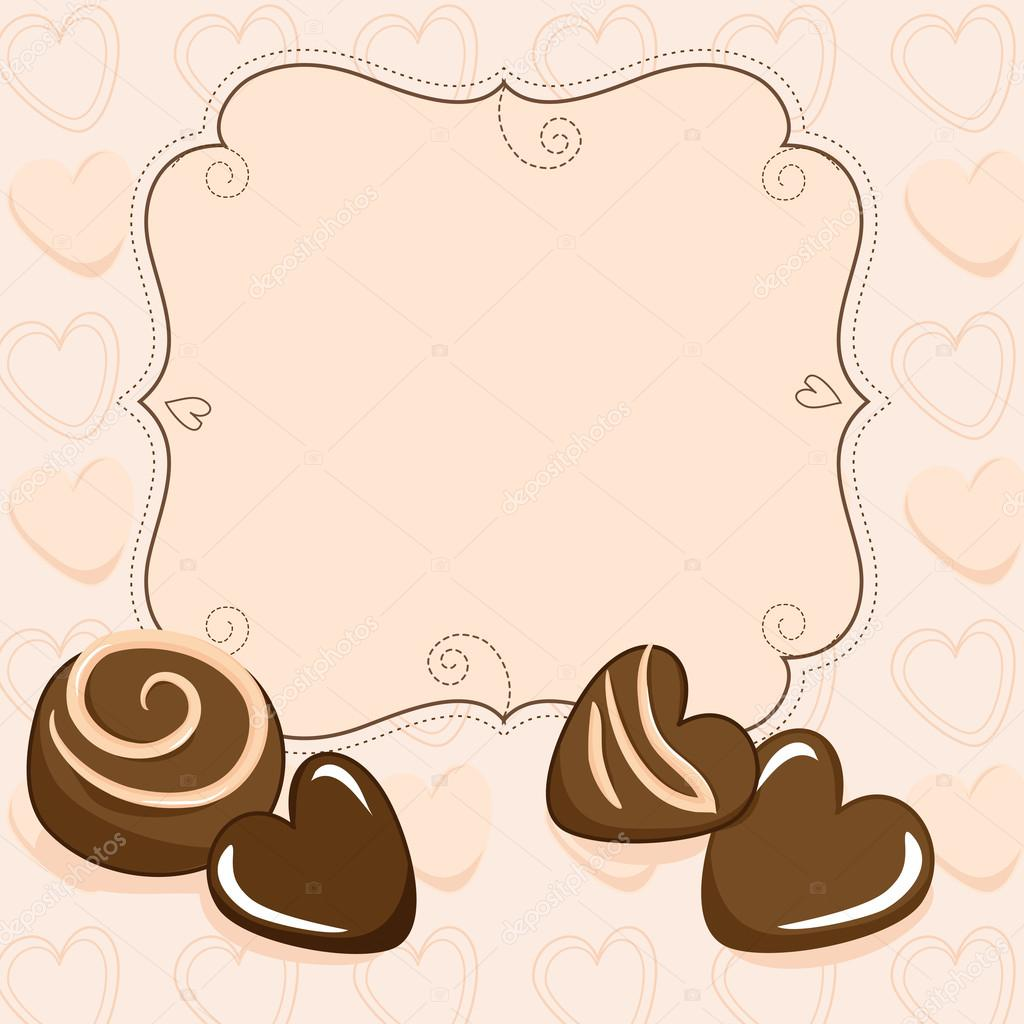 Valentine vignette with chocolate candy and hearts clipart vector