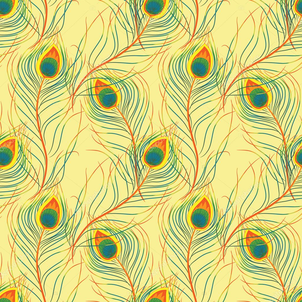Vector pattern with peacock feathers