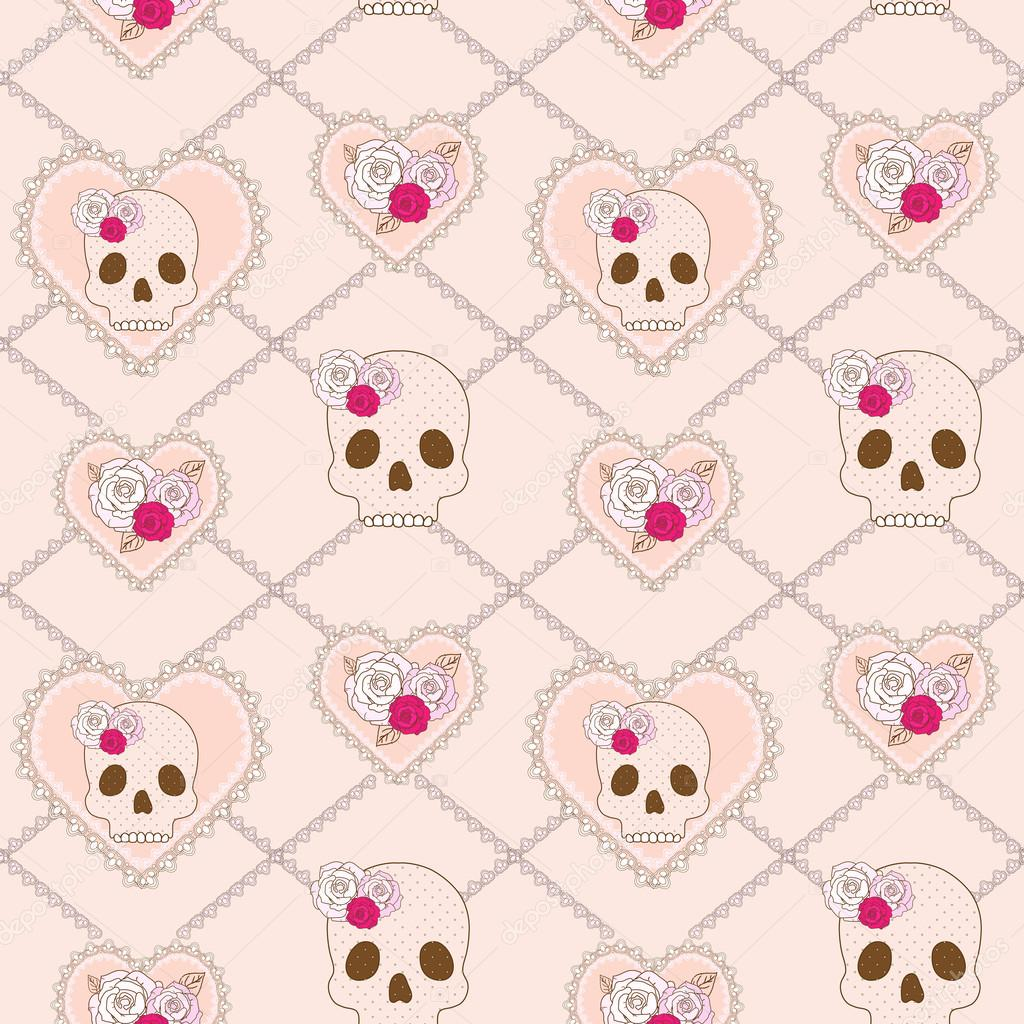 Vector seamless pattern with skull, heart and roses