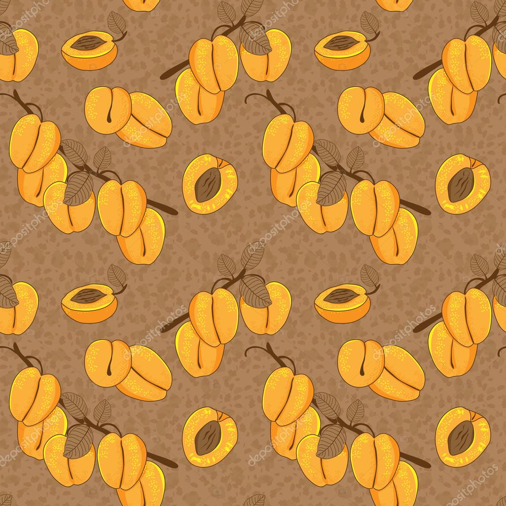 Vector seamless pattern with apricot
