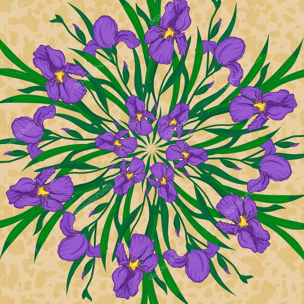 Vector mandala with iris flowers