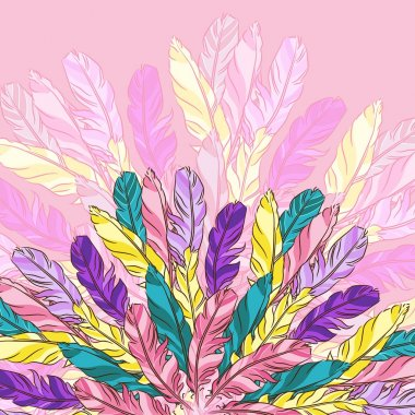 Vector background with colored feathers