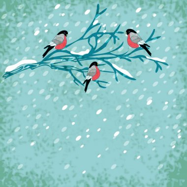 Vector winter background with bullfinch bird