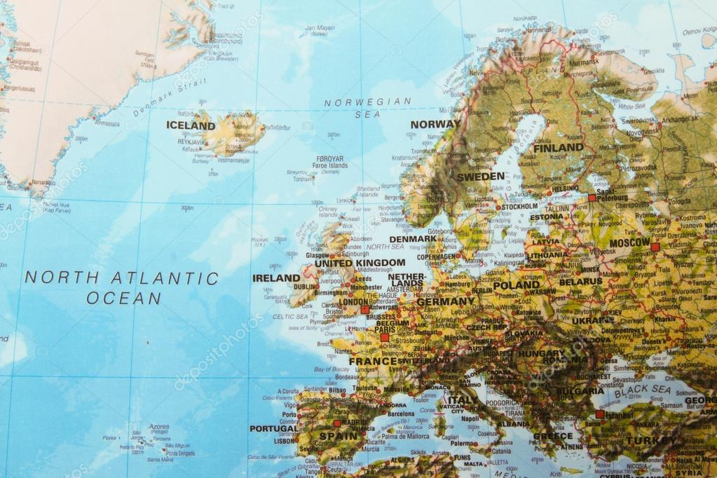 Picture: physical map | Europe physical map — Stock Photo ...