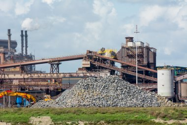 steel mill overview with canal
