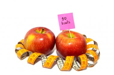 Apple with measuring tape, Calorie content