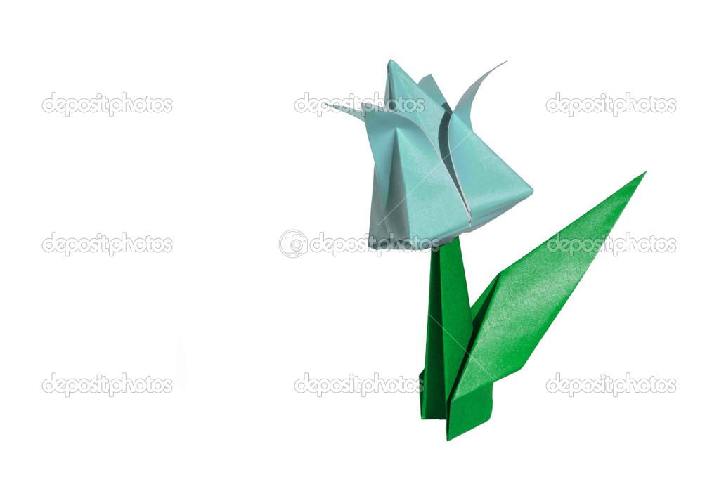 Origami cyan flower tulip isolated on white stock photo chupi origami flower tulip isolated on white photo by chupi mightylinksfo