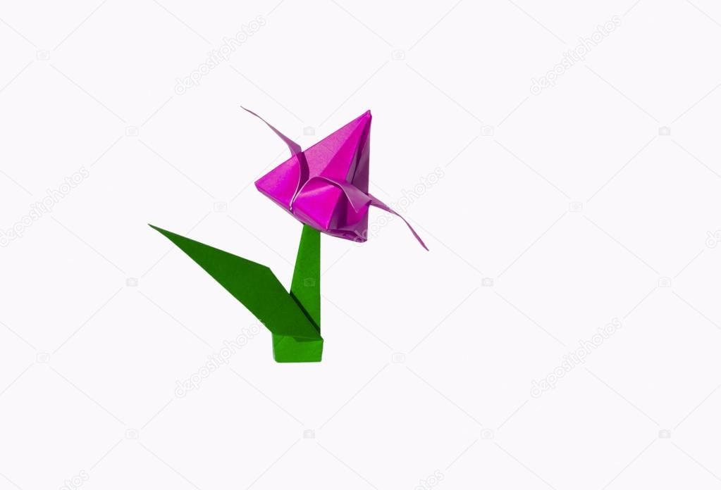 Origami pink flower tulip isolated on white stock photo chupi origami flower tulip isolated on white photo by chupi mightylinksfo