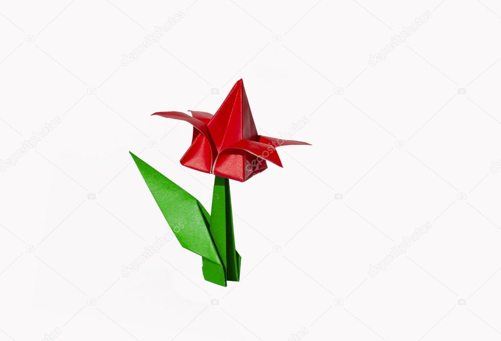 Origami red flower tulip isolated on white stock photo chupi origami flower tulip isolated on white photo by chupi mightylinksfo