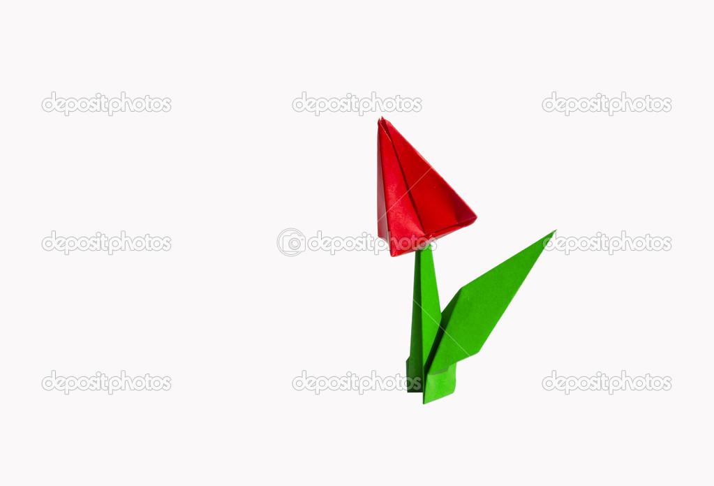 Fleur D Origami Rouge Tulipe Isole Sur Blanc Photographie Chupi