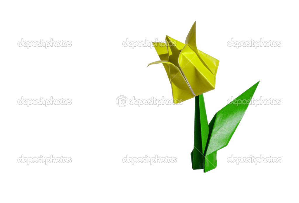 Origami yellow flower tulip isolated on white stock photo origami flower tulip isolated on white photo by chupi mightylinksfo