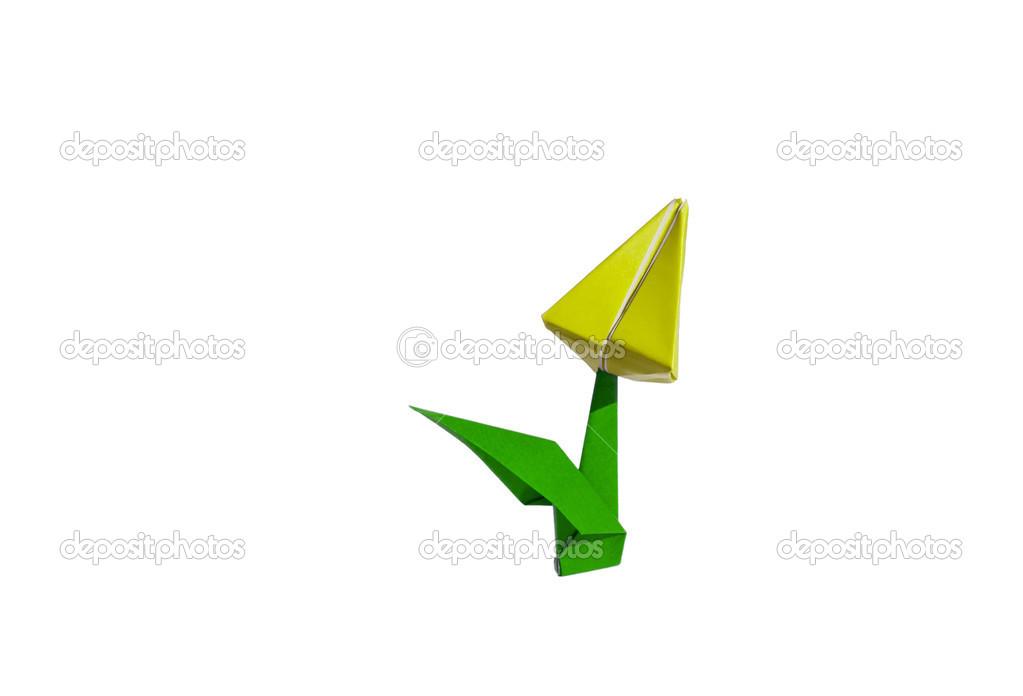 Fleur D Origami Jaune Tulipe Isole Sur Blanc Photographie Chupi