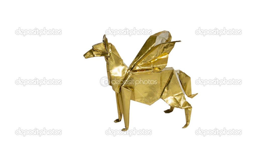 Gold Origami Pegasus Horse Isolated On White Stock Photo Chupi